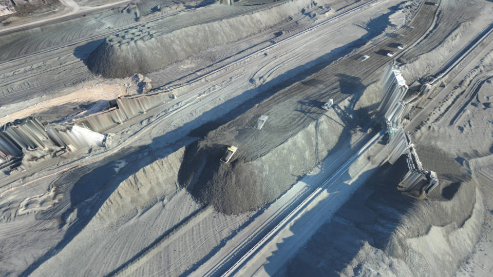 Lignite stored on site before it is used for producing electricity