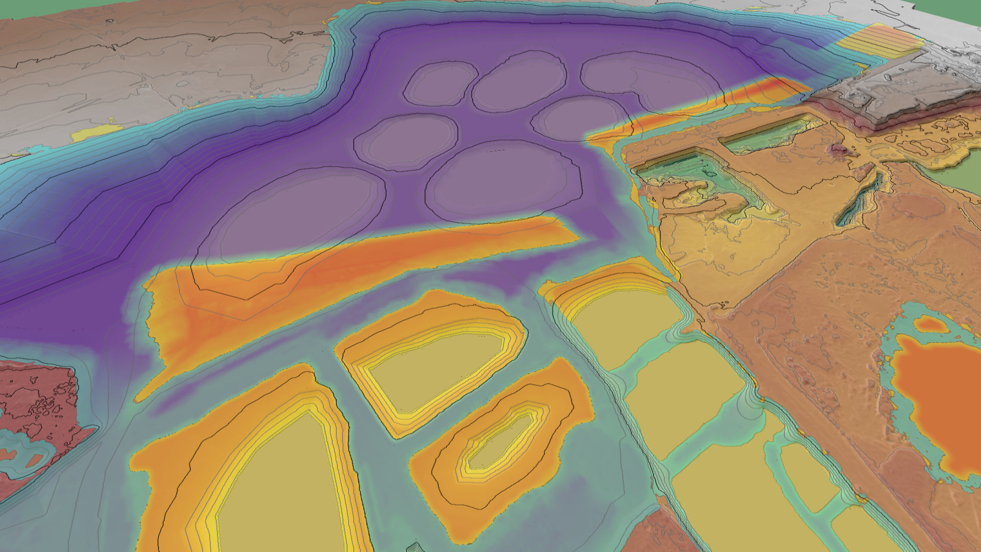 A cut/fill map compare the current quarry topography with a rehabilitation scenario