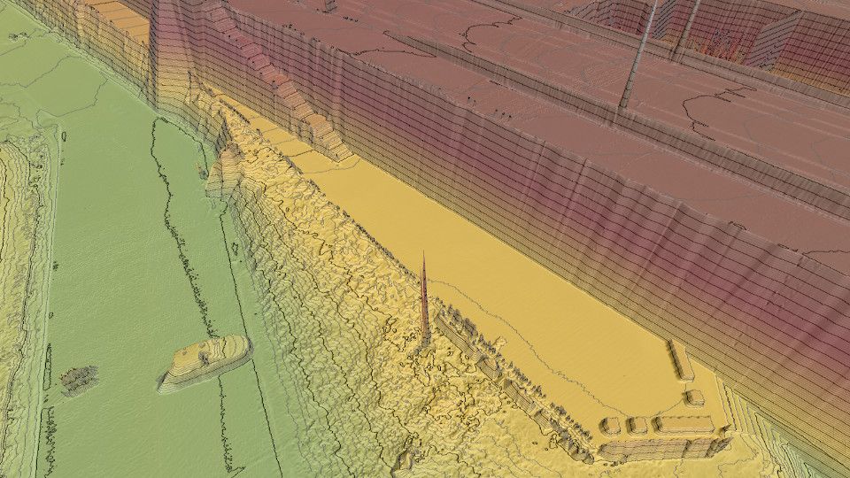 Combined hillshade, elevation and contours lens on Stormbee data